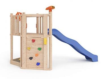 ISIDOR Little Star Spielturm Baumhaus Schaukel Kletterturm Rutsche 1,2 m Podest Inkl. Sandkasten, Kletterwand und Anbau-Auswahl! (ohne Anbau) - 1