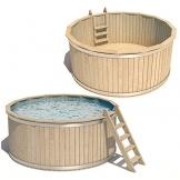 ISIDOR Pool Holzpool Schwimmbecken Swimmingpool Rundpool 240x107cm -