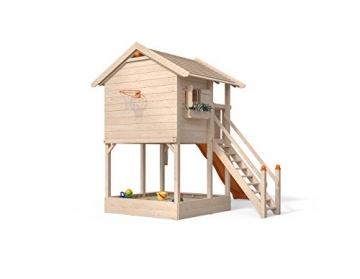 ISIDOR Spielturm FRIDOLINO Schaukelanbau mit XXL Rutsche in orange, Sandkasten, Balkon und Sicherheitstreppe auf 1,50 Meter Podesthöhe - 2