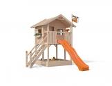 ISIDOR Spielturm FRIDOLINO Schaukelanbau mit XXL Rutsche in orange, Sandkasten, Balkon und Sicherheitstreppe auf 1,50 Meter Podesthöhe - 1