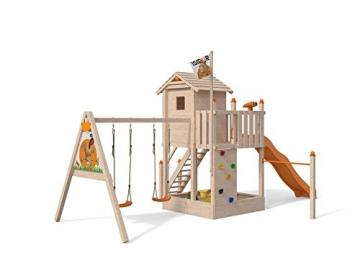 ISIDOR Spielturm Giraffico Aufstiegsauswahl (Leiter, Rampe, Treppe) und Schaukelanbau, Rutsche, Reckstange, hissbarer Fahne und Kletterwand auf 1,50 Meter Podesthöhe (Sicherheitstreppe, Orange) - 2