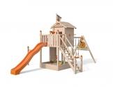 ISIDOR Spielturm Giraffico Aufstiegsauswahl (Leiter, Rampe, Treppe) und Schaukelanbau, Rutsche, Reckstange, hissbarer Fahne und Kletterwand auf 1,50 Meter Podesthöhe (Sicherheitstreppe, Orange) - 1