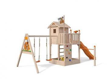 ISIDOR Spielturm Giraffico Aufstiegsauswahl (Leiter, Rampe, Treppe) und Schaukelanbau, Rutsche, Reckstange, hissbarer Fahne und Kletterwand auf 1,50 Meter Podesthöhe (Sprossenleiter, Orange) - 2