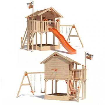 ISIDOR WONDER WOW Spielturm Kletterturm Baumhaus Rutsche Schaukeln Treppe 1,50m (einfacher Schaukelanbau, Orange) -