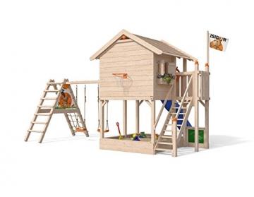 ISIDOR Wonder Wow Spielturm mit erweitertem Schaukelanbau, XXL Rutsche, Sandkasten, Balkon, Treppe auf 1,50 m Podesthöhe (Blau) - 2