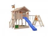 ISIDOR Wonder Wow Spielturm mit erweitertem Schaukelanbau, XXL Rutsche, Sandkasten, Balkon, Treppe auf 1,50 m Podesthöhe (Blau) - 1