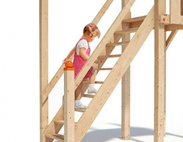 ISIDOR Wonder Wow Spielturm mit erweitertem Schaukelanbau, XXL Rutsche, Sandkasten, Balkon, Treppe auf 1,50 m Podesthöhe (Blau) - 3