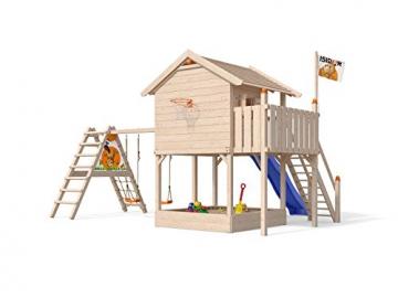 ISIDOR XL-Baumhaus COLINO Spielturm mit erweitertem Schaukelanbau und Sicherhheitstreppe, XXL- Rutsche, Sandkasten und Balkon auf 1,50 Meter Podesthöhe - 2