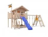 ISIDOR XL-Baumhaus COLINO Spielturm mit erweitertem Schaukelanbau und Sicherhheitstreppe, XXL- Rutsche, Sandkasten und Balkon auf 1,50 Meter Podesthöhe - 1