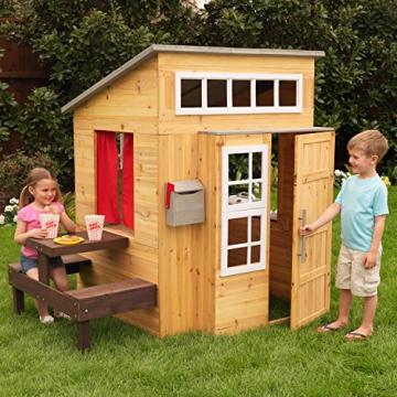 KidKraft 182 Modernes Outdoor Garten-Spielhaus aus Holz für Kinder mit Spielküche und weiterem Zubehör - 4