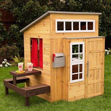 KidKraft 182 Modernes Outdoor Garten-Spielhaus aus Holz für Kinder mit Spielküche und weiterem Zubehör - 5
