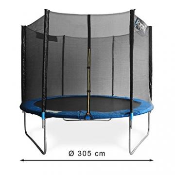 Kinetic Sports Outdoor Gartentrampolin Komplettset Ø 305 cm Sicherheitsnetz Randabdeckung Leiter Abdeckplane -