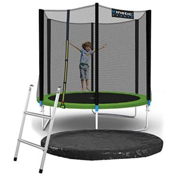 Kinetic Sports Outdoor Gartentrampolin Ø 244, TPLS08, inklusive Sprungtuch aus USA PP-Mesh +Sicherheitsnetz +Rand- u. Regen-Abdeckung +Leiter, bis 120kg, GS-geprüft,UV-beständig, GRÜN - 1