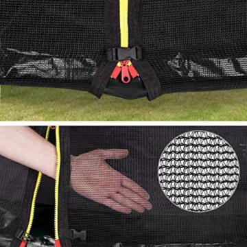 Kinetic Sports Outdoor Gartentrampolin Ø 305, TPLS10, inklusive Sprungtuch aus USA PP-Mesh +Sicherheitsnetz +Rand- u. Regen-Abdeckung +Leiter, bis 160kg, GS-geprüft,UV-beständig, SCHWARZ - 4