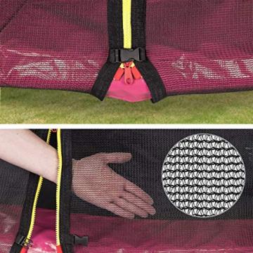 Kinetic Sports Outdoor Gartentrampolin Ø 305, TPLS10, inklusive Sprungtuch aus USA PP-Mesh +Sicherheitsnetz +Rand- u. Regen-Abdeckung +Leiter, bis 150kg, Intertek GS-geprüft, UV-beständig, PINK - 4