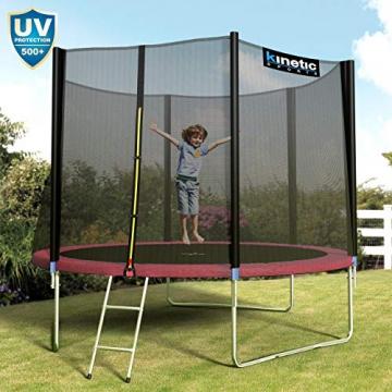 Kinetic Sports Outdoor Gartentrampolin Ø 305, TPLS10, inklusive Sprungtuch aus USA PP-Mesh +Sicherheitsnetz +Rand- u. Regen-Abdeckung +Leiter, bis 150kg, Intertek GS-geprüft, UV-beständig, PINK - 6