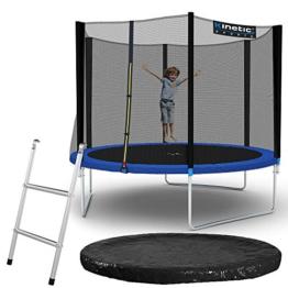 Kinetic Sports Outdoor Gartentrampolin Ø 305, TPLS10, inklusive Sprungtuch aus USA PP-Mesh +Sicherheitsnetz +Rand- u. Regen-Abdeckung +Leiter, bis 160kg, GS-geprüft,UV-beständig, SCHWARZ - 1