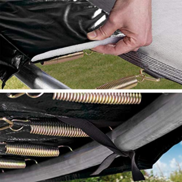 Kinetic Sports Outdoor Gartentrampolin Ø 305, TPLS10, inklusive Sprungtuch aus USA PP-Mesh +Sicherheitsnetz +Rand- u. Regen-Abdeckung +Leiter, bis 160kg, GS-geprüft,UV-beständig, SCHWARZ - 3