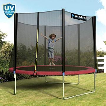 Kinetic Sports Outdoor Gartentrampolin Ø 310 cm, TPLH10, Komplettset inklusive Sprungtuch aus USA PP-Mesh +Sicherheitsnetz +Randabdeckung, bis 150kg, Intertek GS-geprüft, UV-beständig, PINK - 6