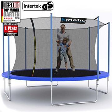 Kinetic Sports Outdoor Trampolin TPLH13 Gartentrampolin für Kinder und Erwachsene mit Randabdeckung und Sicherheitsnetz Ø 400 cm - 1