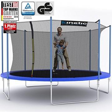Kinetic Sports Outdoor Trampolin TPLH14 Gartentrampolin für Kinder und Erwachsene mit Randabdeckung und Sicherheitsnetz Ø 430 cm - 1