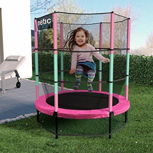 Kinetic Sports Trampolin Kinder Indoortrampolin Jumper 140 cm Randabdeckung Stangen gepolstert, Gummiseil-Federung Sicherheitsnetz Pink -