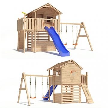 MAXIMO Spielturm Baumhaus Stelzenhaus mit Doppelschaukel, Kletterrampe, Basketballkorb und Rutsche auf 1,50m Podesthöhe -