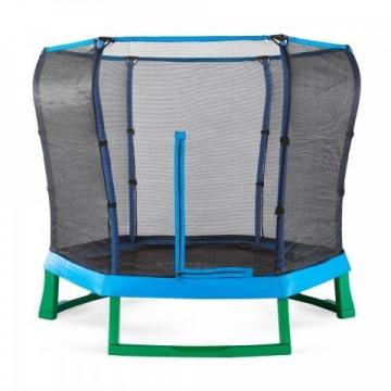 Plum Kinder Trampolin, mit Schutzumrandung, 2,1m Durchmesser, Blau / Grün -