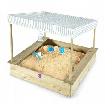 Plum Palm Beach Sand Pit with Canopy Wooden Sand Pit -