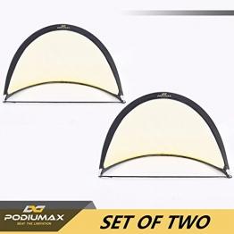 Podiumax 2er Set Fußballtor selbstentfaltend klappbar mit Torwand für Training und Kinder, Pop Up Tor mit Tragetasche, Maße: 4ft (121*81*81cm) - 1