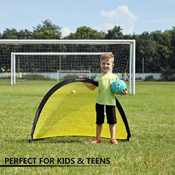 Podiumax 2er Set Fußballtor selbstentfaltend klappbar mit Torwand für Training und Kinder, Pop Up Tor mit Tragetasche, Maße: 4ft (121*81*81cm) - 4
