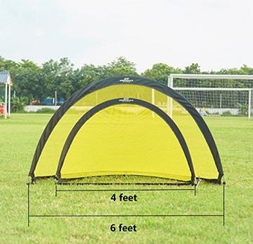 Podiumax 2er Set Fußballtor selbstentfaltend klappbar mit Torwand für Training und Kinder, Pop Up Tor mit Tragetasche, Maße: 4ft (121*81*81cm) - 7