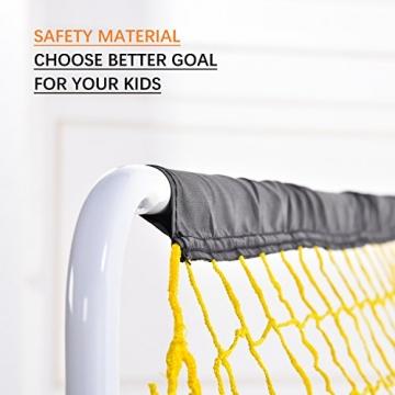 PodiuMax 4ft Durable Kinder Fußball Ziel - DIY Metall Rohr Montage, schwarz / gelb - 3