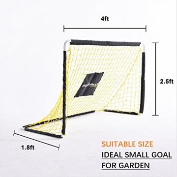 PodiuMax 4ft Durable Kinder Fußball Ziel - DIY Metall Rohr Montage, schwarz / gelb - 5