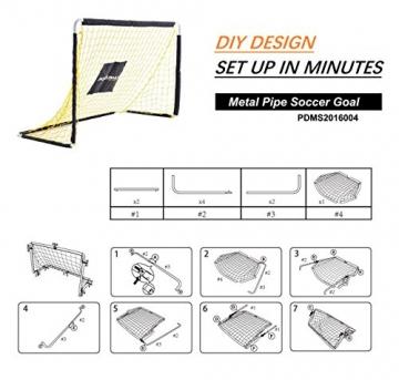 PodiuMax 4ft Durable Kinder Fußball Ziel - DIY Metall Rohr Montage, schwarz / gelb - 6