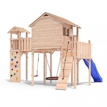 PONTICULUS Spielturm Stelzenhaus Baumhaus Rutsche Schaukel 2 Meter Podesthöhe -