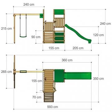 PowerPalm Triple Spielturm Kletterturm Schaukel Baumhaus Holz -