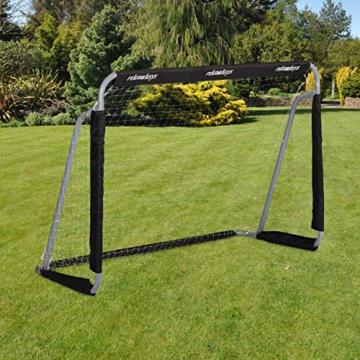 Relaxdays Fußballtor, Profi Soccertor für Kinder & Erwachsene, mit Tornetz, für Garten, HBT 110x150x75cm, grau/schwarz - 1