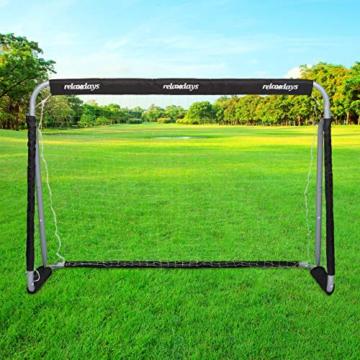 Relaxdays Fußballtor, Profi Soccertor für Kinder & Erwachsene, mit Tornetz, für Garten, HBT 110x150x75cm, grau/schwarz - 8