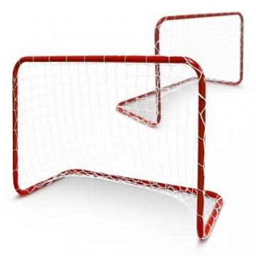Relaxdays Kinder Fußballtor für 2er Set Rot mit Stecksystem, Rot, 10018634 -