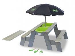 Sand-, Wasser- und Picknicktisch mit 2 Sitzbänken, Gartenwerkzeug und Sonnenschirm -