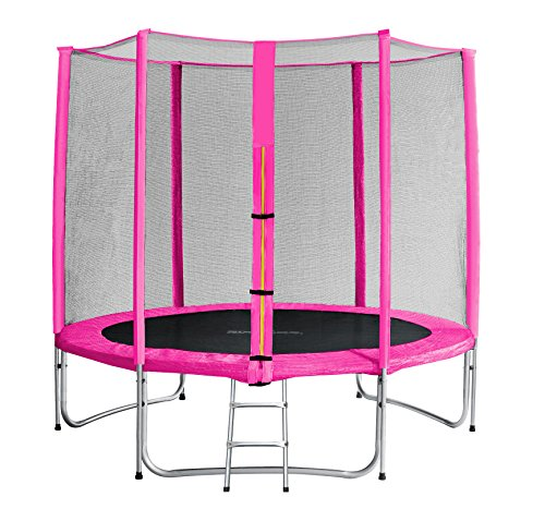 SixBros. SixJump 2,45 M Gartentrampolin Pink Trampolin - Leiter - Sicherheitsnetz - Wetterplane - Lange Netzstangen - TP245/1613 - 1