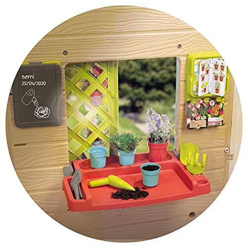 Smoby 810405 - Gartenhaus - Spielhaus für drinnen und draußen, mit kleiner Eingangstür und Fenstern, viel Zubehör zum Gärtnern, für Jungen und Mädchen ab 2 Jahren - 3