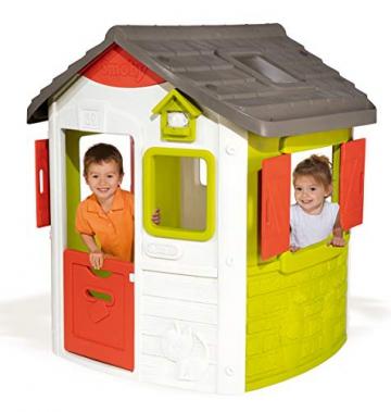 Smoby 810500 Neo Jura Lodge. Kinderspielhaus für Indoor und Outdoor, Gartenhaus für Kinder ab 2 Jahren, Grau, Grün, Weiß, Rot - 2
