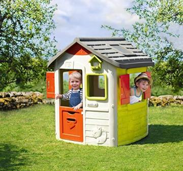 Smoby 810500 Neo Jura Lodge. Kinderspielhaus für Indoor und Outdoor, Gartenhaus für Kinder ab 2 Jahren, Grau, Grün, Weiß, Rot - 4
