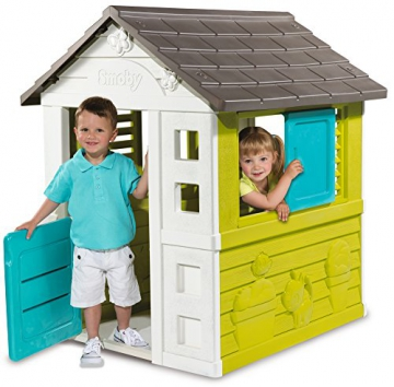 Smoby 810710 Pretty Spielhaus, Kinderspielhaus für Indoor und Outdoor, Gartenhaus für Kinder ab 2 Jahren, türkis - 2