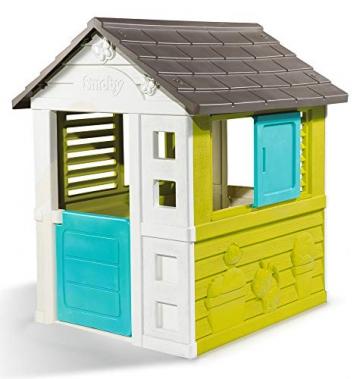 Smoby 810710 Pretty Spielhaus, Kinderspielhaus für Indoor und Outdoor, Gartenhaus für Kinder ab 2 Jahren, türkis - 1