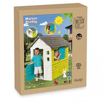 Smoby 810710 Pretty Spielhaus, Kinderspielhaus für Indoor und Outdoor, Gartenhaus für Kinder ab 2 Jahren, türkis - 5