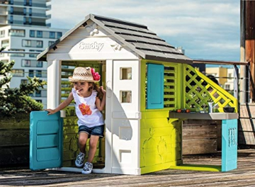 Smoby 810711 Pretty Spielhaus mit Sommerküche, Kinderspielhaus mit Kinderküche für Kinder ab 2 Jahren, türkis - 4