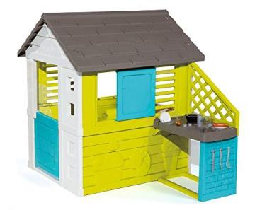 Smoby 810711 Pretty Spielhaus mit Sommerküche, Kinderspielhaus mit Kinderküche für Kinder ab 2 Jahren, türkis - 1